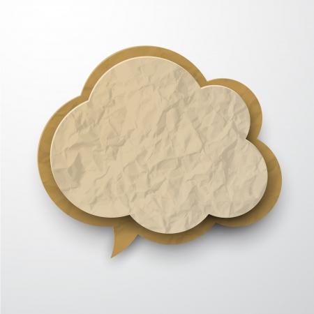 Vector illustratie van de oude gekreukt papier cloud
