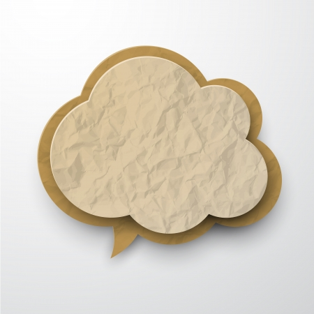 3d paper art: Vector illustration of old wrinkled paper cloud