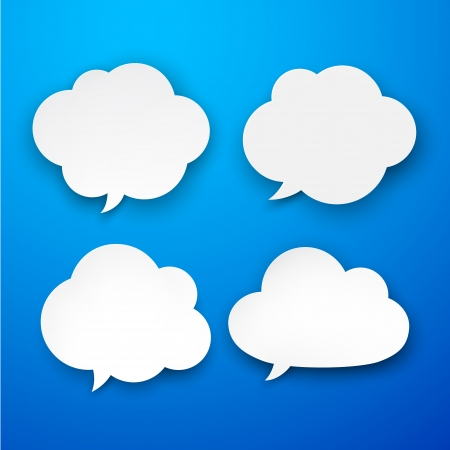 Vector illustration of white paper clouds over blue background. Eps10. Stock Vector - 18220818