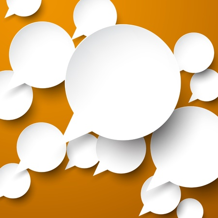 page decoration: Vector abstract illustration of white paper speech bubbles on brown background. Eps10.