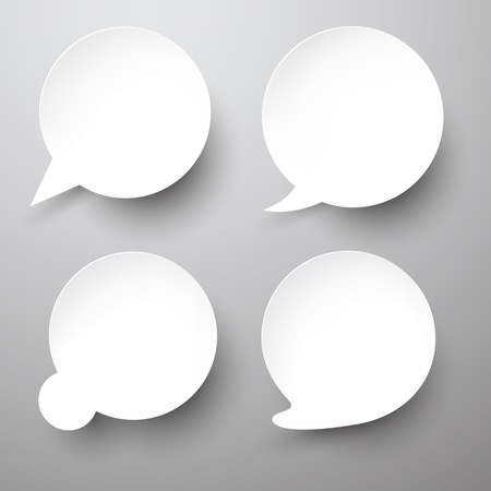 Vector illustration of paper round speech bubbles. Eps10.   Vector