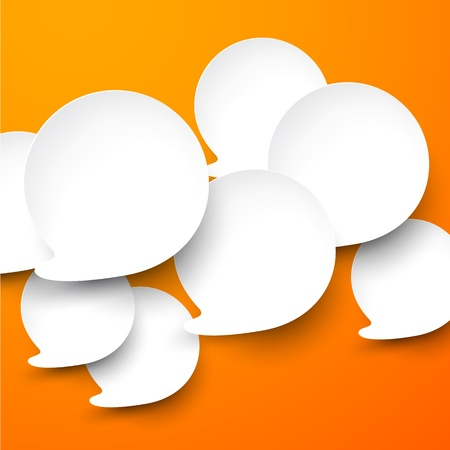 Vector abstract illustration of white paper speech bubbles on orange background. Eps10. Vector