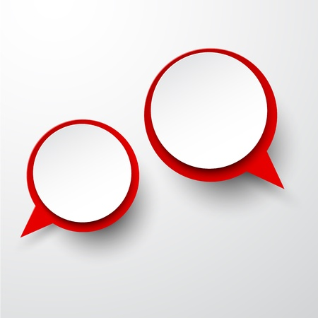 Vector abstract illustration of white and red paper round speech bubbles on grey background. Eps10. Vector