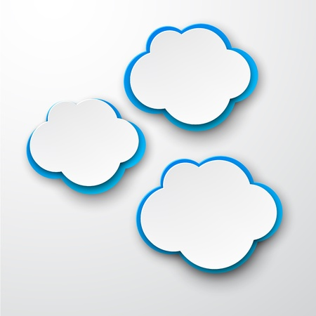 speech cloud: Vector illustration of white and blue paper clouds. Illustration