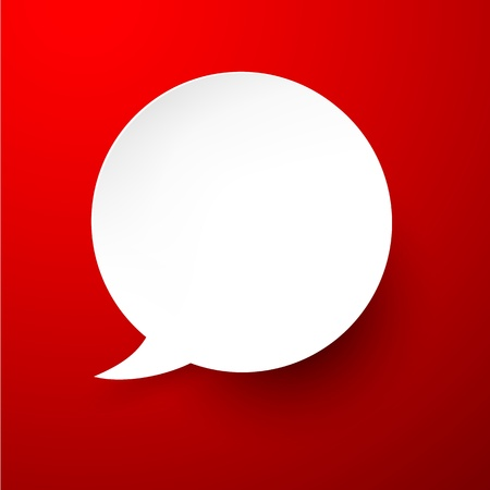 smooth shadow: Vector abstract illustration of white paper speech bubble on red background.