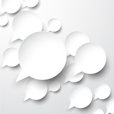 Vector abstract illustration of white paper speech bubbles on grey background.  Vector