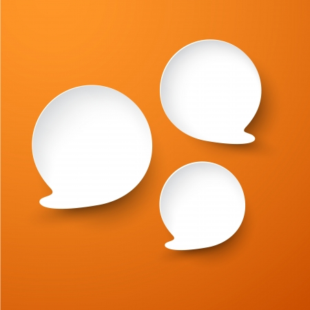 Vector abstract illustration of white paper speech bubbles on orange background.   Vector