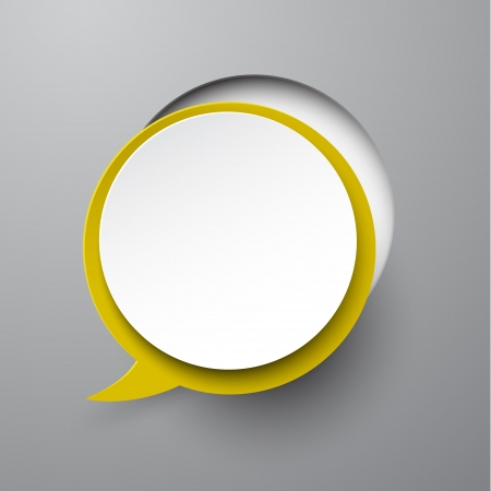 paper cut out: Vector illustration of white paper notched out round speech bubble.