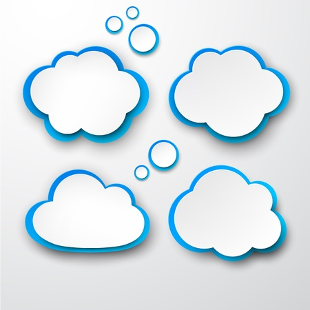 Vector illustration of white and blue paper clouds. Stock Vector - 18254993