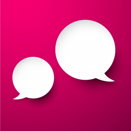 smooth shadow: Vector abstract illustration of white paper speech bubbles on pink background