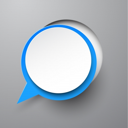 Vector illustration of white paper notched out round speech bubble.