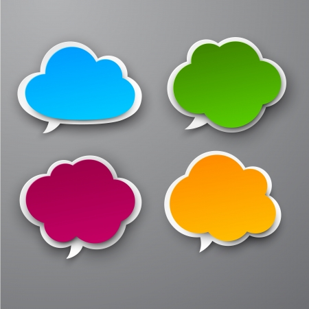 fuchsia: Vector illustration of color paper clouds.  Illustration