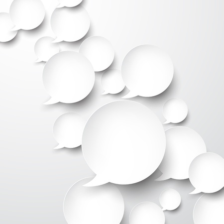 Vector abstract illustration of white paper speech bubbles on grey background  Eps10   Vector