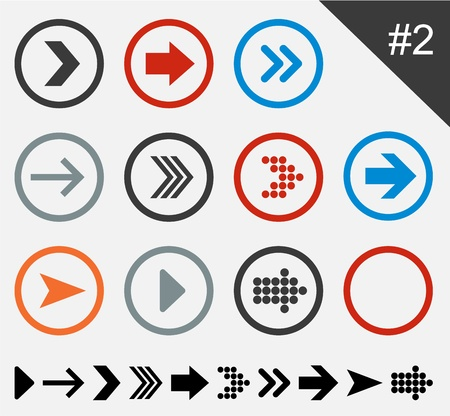 illustration of plain round arrow icons.  Vector