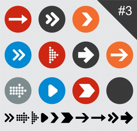 Vector illustration of plain round arrow icons. Eps10.   Vector