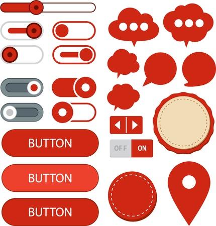 Vector illustration of red plain web elements  Flat UI  Illustration