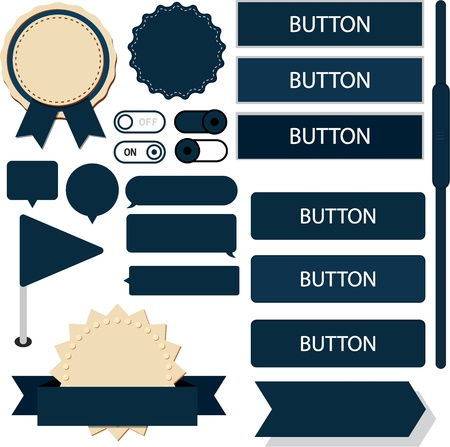 Vector illustration of dark blue plain web elements  Flat UI