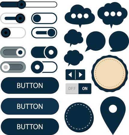 gibbose: Vector illustration of red plain web elements  Flat UI  Illustration