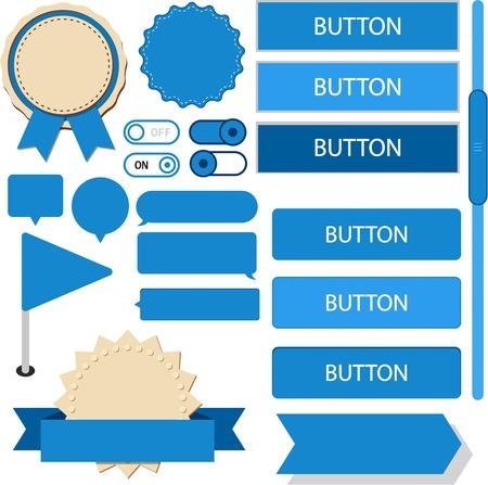 Vector illustration of blue plain web elements. Flat UI.