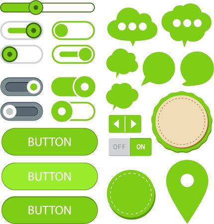 Vector illustration of green plain web elements. Flat UI. Illustration