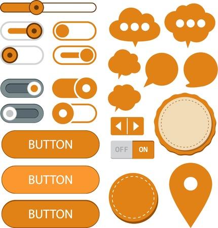 web push: illustration of orange plain web elements