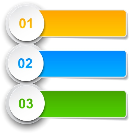 three orange:  illustration of infographics template design.