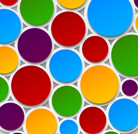 abstract background composed of colorful paper bubbles.   Vector