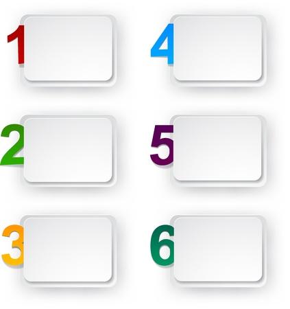 numbered: illustrazione di adesivi di carta numerati. Infografica modello di progettazione.