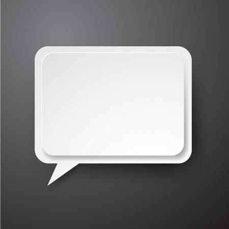 white sticker: illustration of white paper rectangular speech bubble.