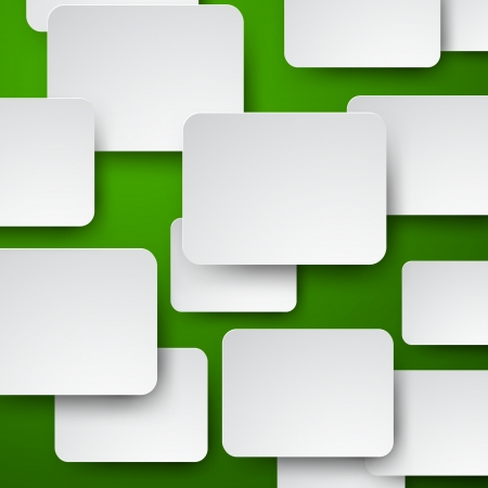 abstract background composed of white paper notes over green.  Vector