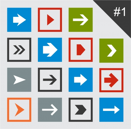 Vector illustration of plain square arrow icons. Eps10. Vector