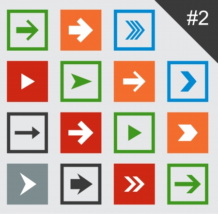 Vector illustration of plain square arrow icons. Eps10. Stock Vector - 18624969