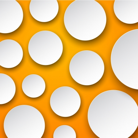Vector abstract background composed of white paper round notes on orange  Eps10   Vector