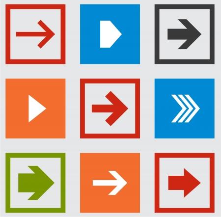 arrowheads: Vector illustration of plain square arrow icons  Eps10