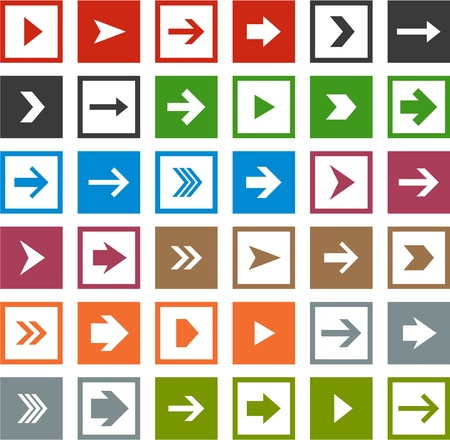 Vector illustration of plain square arrow icons. Eps10. Stock Vector - 18728291