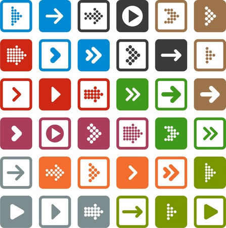 arrowheads: Vector illustration of plain square arrow icons. Eps10.