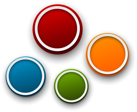 blue circles: Vector illustration of paper round speech bubbles. 3d buttons. Eps10.