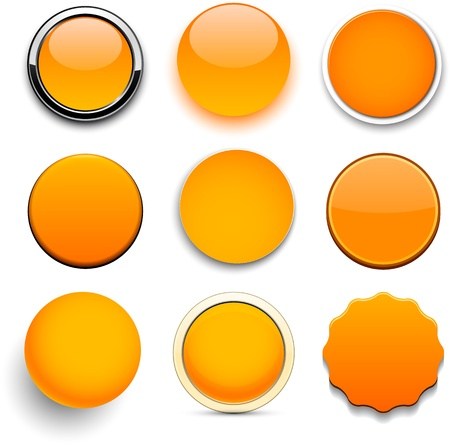 3d button: Set of blank orange round buttons for website or app.
