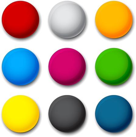 3d button: Set of blank colorful round buttons for website or app.