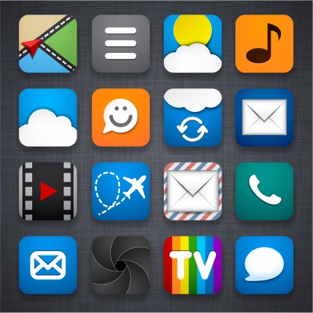 illustration of apps icon set over linen texture.  Vector