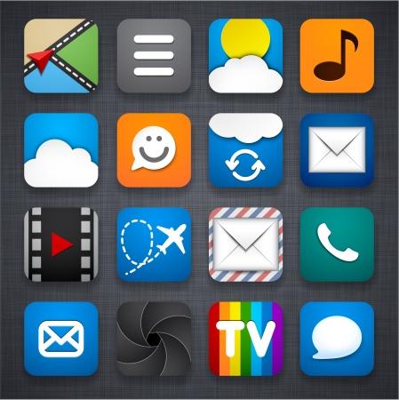 linen texture: ilustraci�n de conjunto de iconos de aplicaciones en la textura de lino.