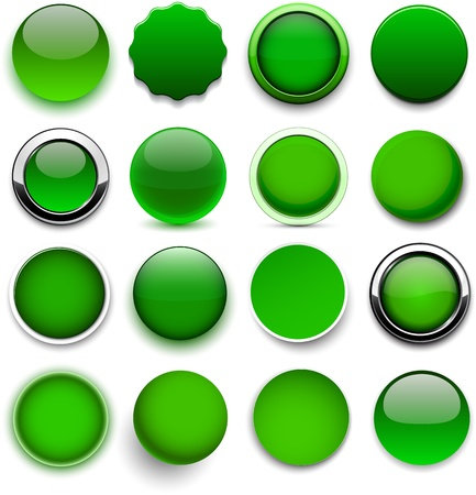 reflection internet: Set of blank green round buttons for website or app.
