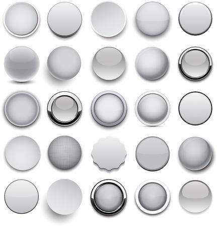 cromo: Conjunto de botones redondos grises en blanco para el sitio web o aplicaci�n.