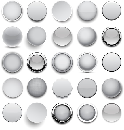 metallic button: Set of blank grey round buttons for website or app.