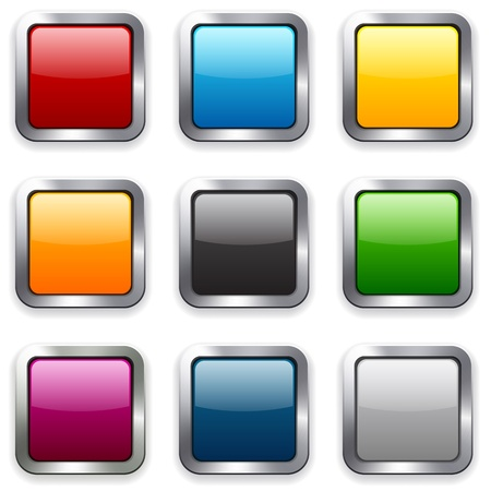 Set of blank colorful square buttons for website or app. Vector eps10. Vector