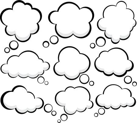 nubes caricatura: Conjunto de burbujas de discurso de estilo comic.