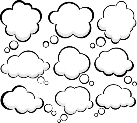 to think: Set of comic style speech bubbles.