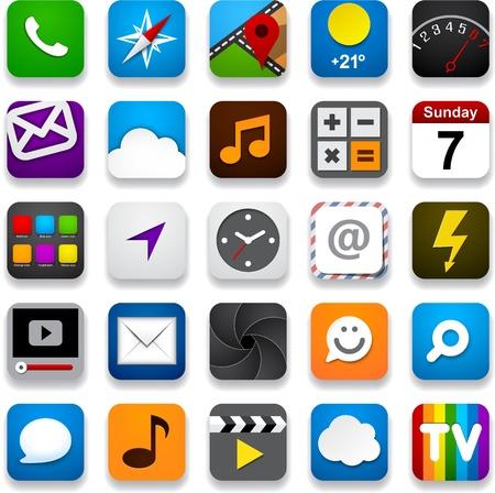 mobile app: illustration of app icon set.