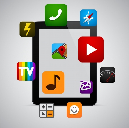 concept communicator with app icons. Vector