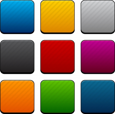 square buttons: Set of blank colorful square buttons for website or app.